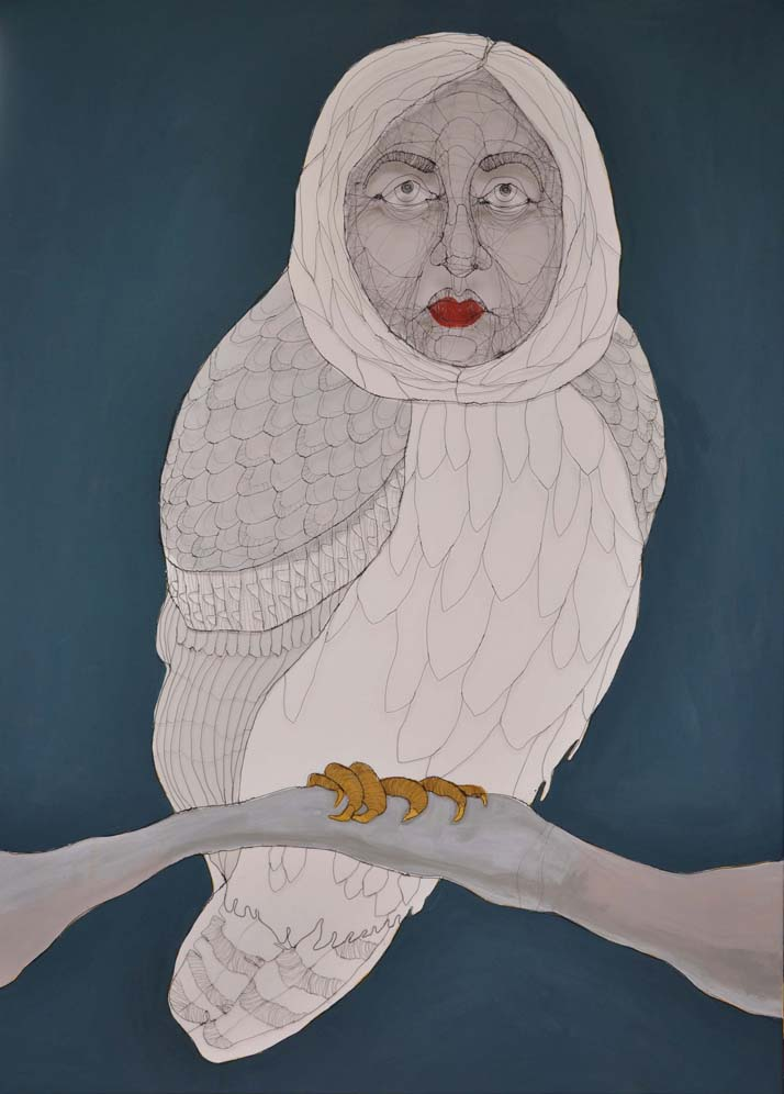 Fiona Morley Owl with a human face Wire and paint on canvas