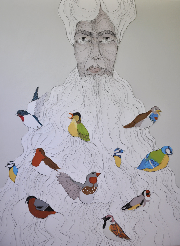 Fiona Morley Birds within a characters long beard. Wire and paint on canvas.