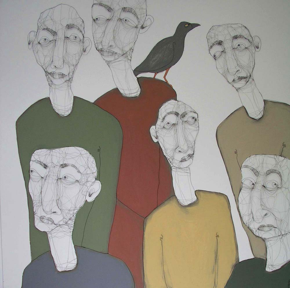 Fiona Morley. Group of figures one with a raven on his shoulder. Wire and paint on canvas