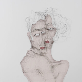 Embrace Fiona Morley a couple in an embrace pink against a white background, from Two dancers album by The Wild Beasts Wire and emulsion paint on canvas
