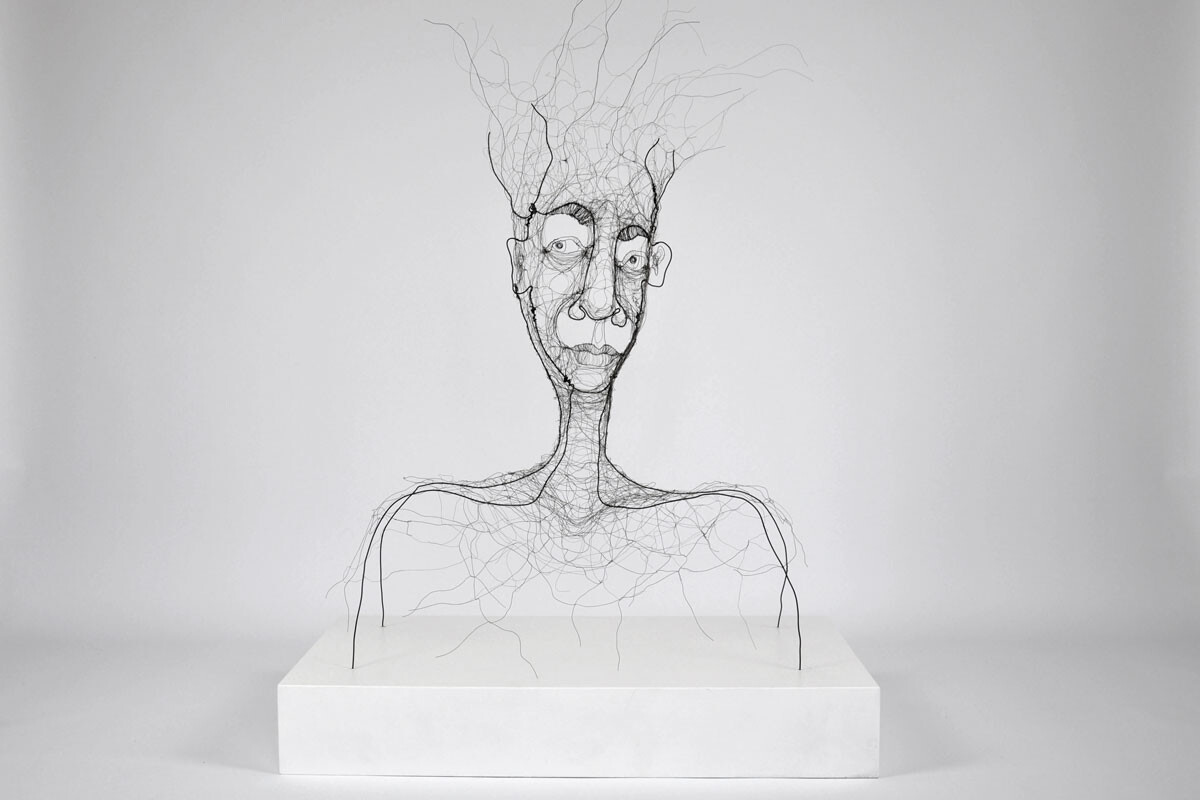 wire sculpture Open mind. wire
