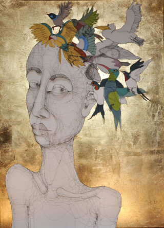 Fiona Morley. figure with birds on her heads Goldleaf background on canvas