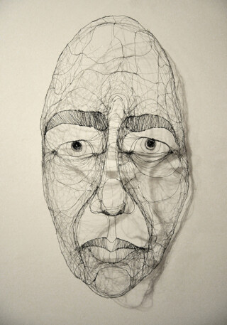 Study of a face in wire. Fiona Morley