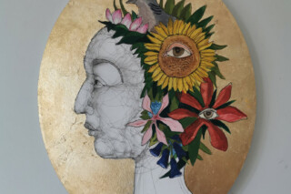 A profile portrait of a character with a turtle dove, flowers and foliage around her head. Background in gold leaf on oval canvas. Art work by Fiona Morley