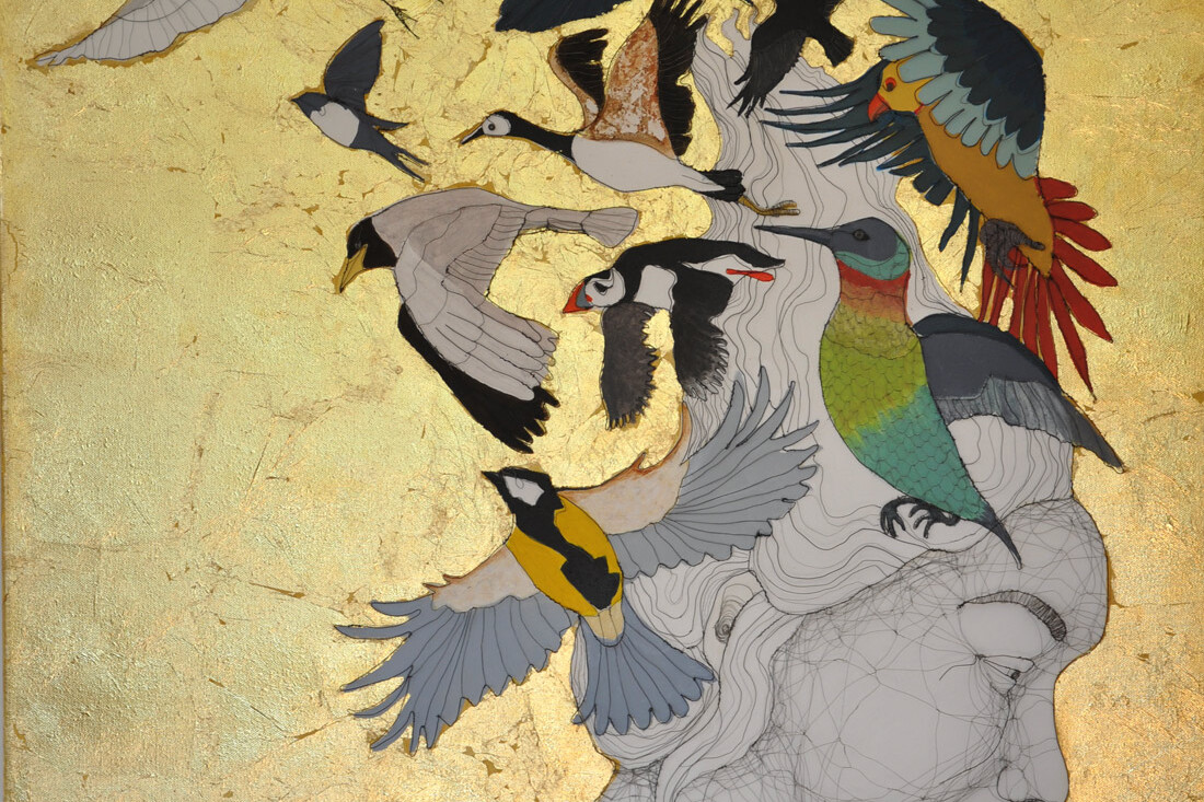 Fiona Morley. wire, emulsion paint, gold leaf on canvas. Female profile with birds flying from her head