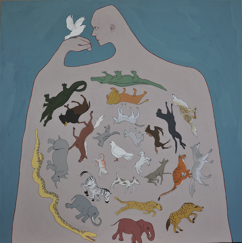 Fiona Morley Wire and emulsion paint on canvas dove wheel of animals
