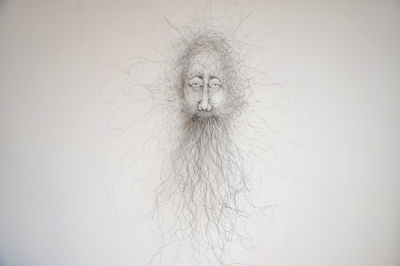 Wire sculpture of a Bearded man Wire. Fiona Morley