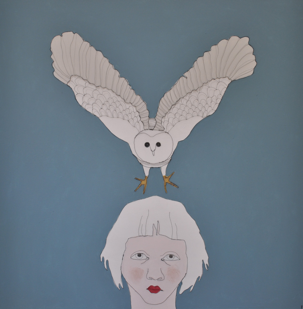 Fiona Morley Child's head with a flying Owl. wire and paint on canvas