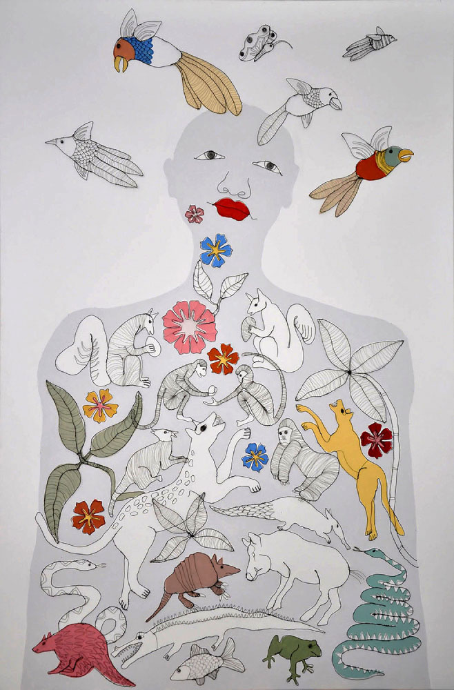 Fiona Morley. Figure populated by wild beasts with birds flying from her head. Wire and emulsion on canvas