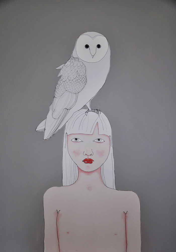 Fiona Morley. Girl standing wth Owl sat on her head, with grey background. Wire and paint on canvas.