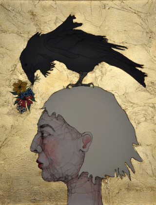 Fiona Morley Wire gold leaf and emulsion on canvas a portrait of a girl in profile with a raven on her head offering flowers