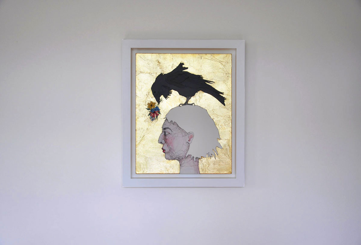 The Gift. Fiona Morley. Wire and emulsion paint and gold leaf on canvas. girl with raven on her head presenting flowers