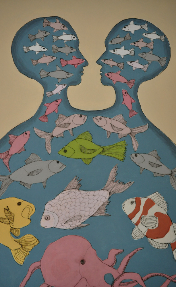 Fiona Morley Two headed being populated with fish. Wire and emulsion paint on canvas