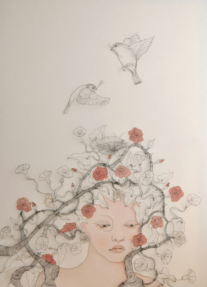 Fiona Morley. Girl's head and shoulders trapped by briars with two birds nesting within the roses. Wire and emulsion paint on canvas